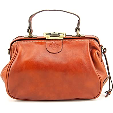 dd360b834f3f Patricia Nash Italian Leather Gracchi Framed Satchel Crossbody Handbag Tan   Handbags  Amazon.com