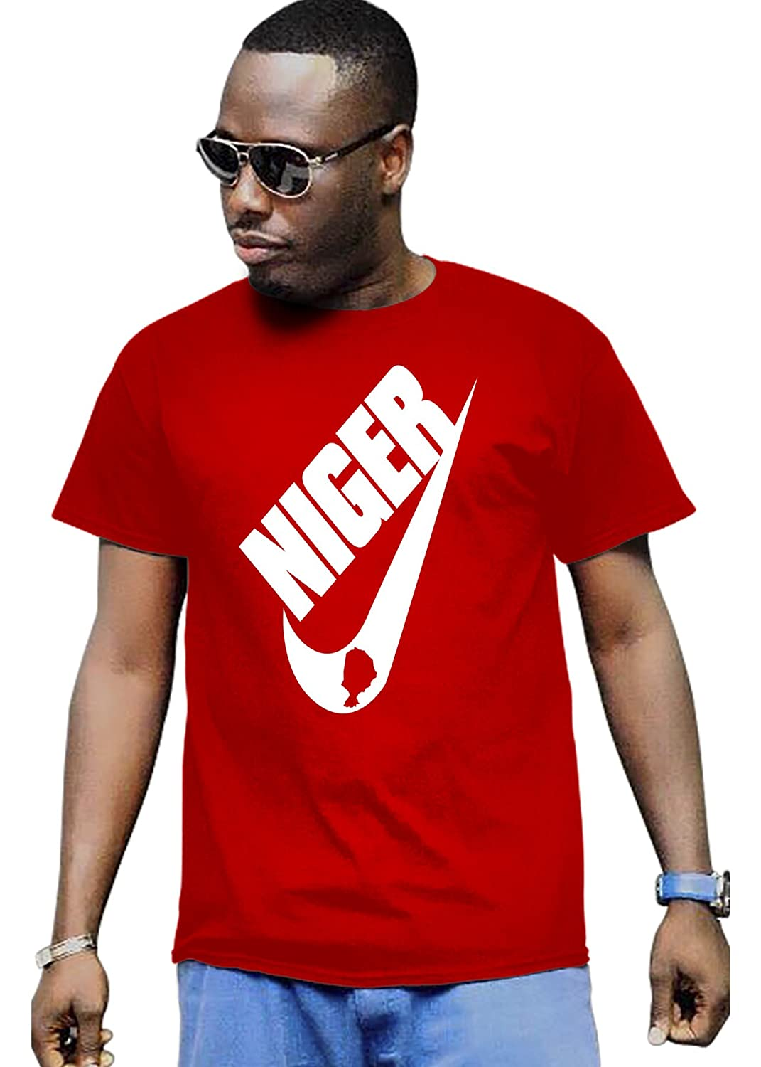 Cali Dreamers Men's I love Niger flag map Africa map t-shirt red