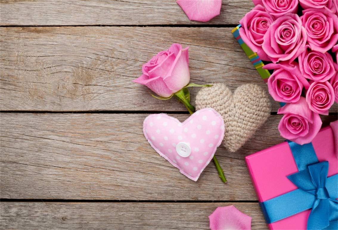 CSFOTO 8 x 6フィート 背景 ピンクローズボックス スイートハート 素朴な木の写真 背景 バレンタインデー 花 ロマンチックなプロポーズ 恋人 ホリデー お祝い フォトスタジオ 小道具 ビニール壁紙   B07GTLDZGN