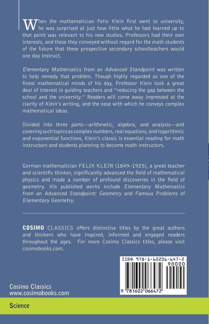 elementary mathematics from an advanced standpoint arithmetic elementary mathematics from an advanced standpoint arithmetic algebra analysis felix klein 9781602066472 com books