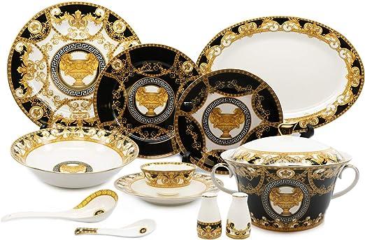 "Deluxe 24K Greek Key EURO Porcelain 7/"" Yellow Salad Dessert Plates Set of 6"