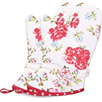 NEOVIVA Kitchen Oven Mitts for Women, Pack of 2, Floral Lollipop Red