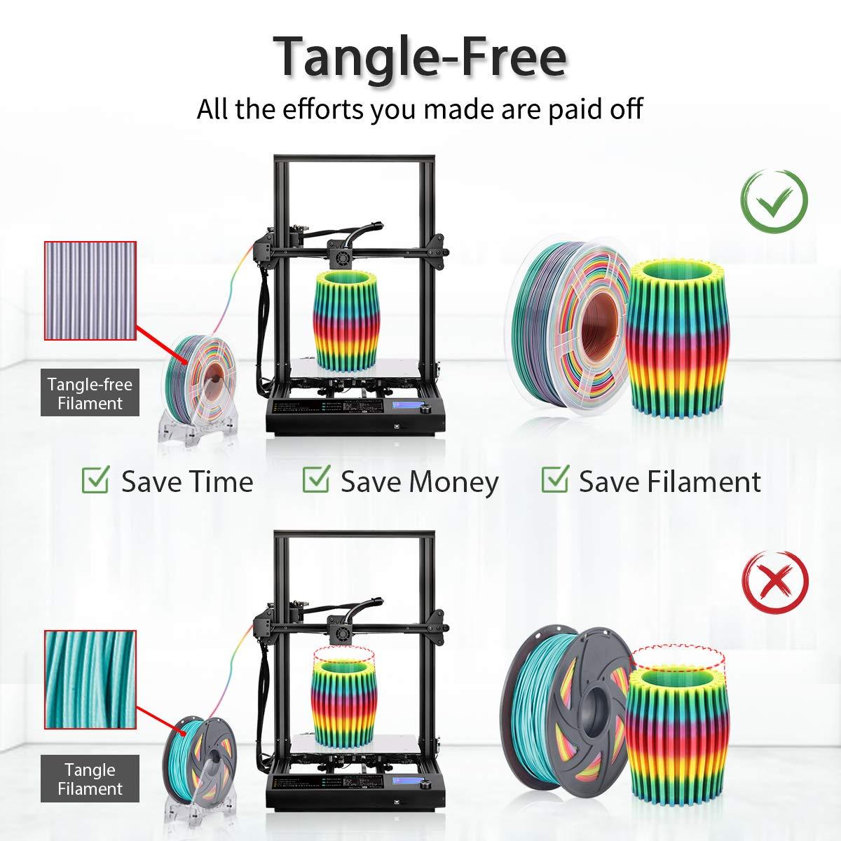 Sin Enredos Multicolor Arco Iris 1 kg Filamento PLA 1.75 mm Devanado Ordenado Actualizado