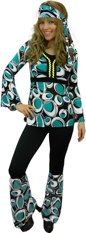 Yummy Bee Disfraz de Hippy Chica Genial Años 70 60 Disco Seductor Fiesta de Disfraces Mujer Gogo Talla Grande 34 - 46 (Azul, Mujer: 38)
