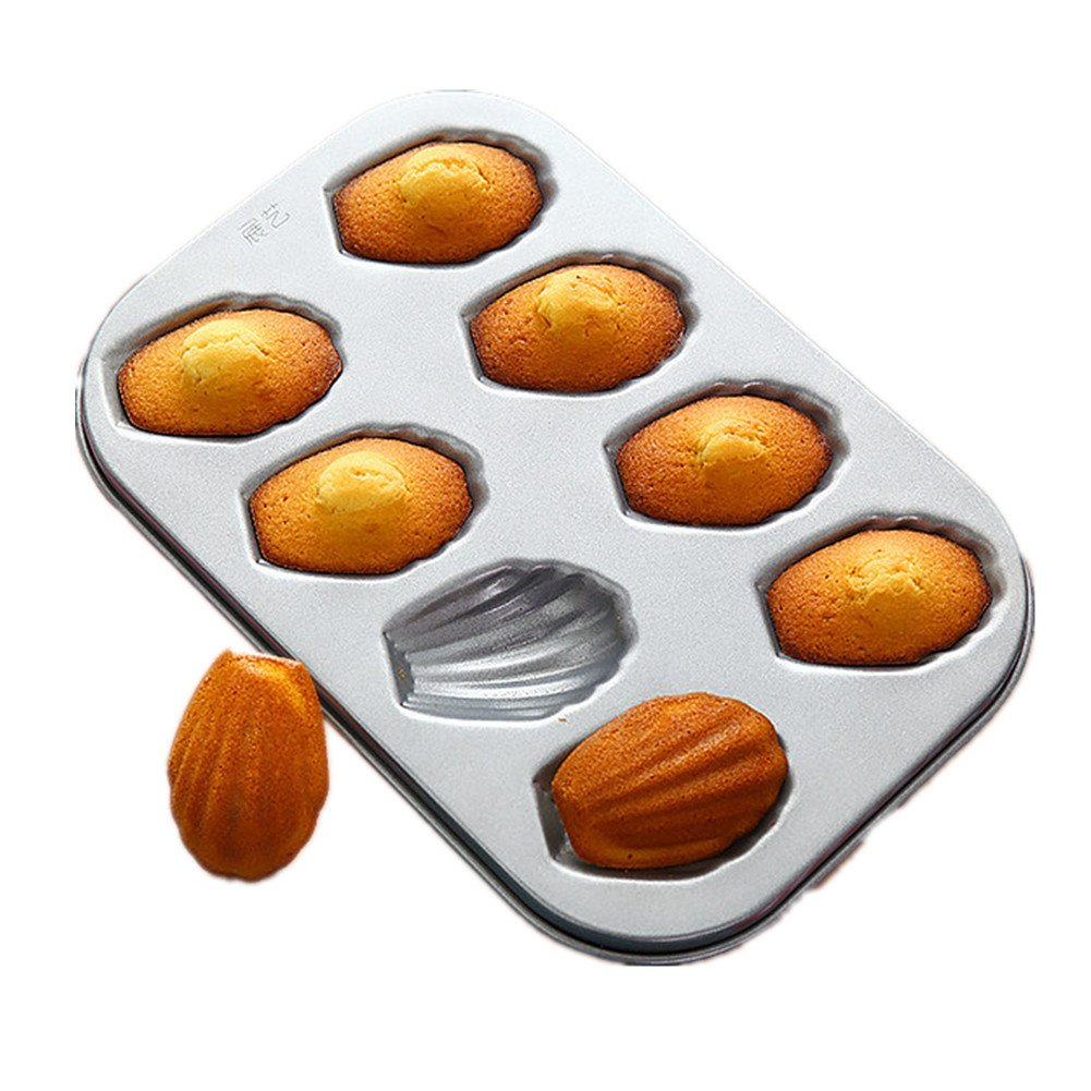 1PCS Non-stick Carbon Steel Madeleine Pan Kitchen Mold Shaped Shell Cake Baking Pan Bakeware,8-Cup Hoxekle