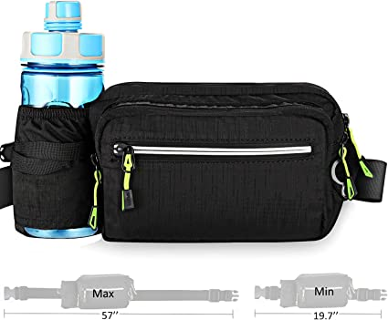 ToyRis Hiking Waist Belt Fanny Pack with Water Bottle Holder for Men Women Outdoor Running /& Dog Walking Fits All Kinds of Phones