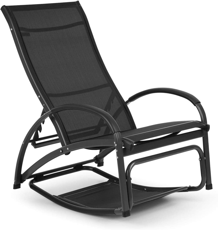 Blumfeldt Beverlywood Sun Lounger Rocking Chair - Aluminium Frame, 4-Way Adjustable Backrest, DualComfort, Material: 70% PVC and 30% Polyester Comfort Mesh, Stainless Steel Screws, Black
