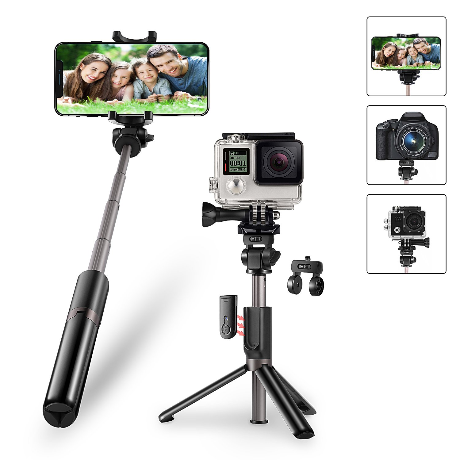 KocoDoll Bluetooth Selfie Stick, 4 in 1 Extendable Selfie Stick Tripod with Wireless Remote Shutter for GoPro, Action Cam, iPhone x 8 7 6 Plus, Galaxy S8/S7/S6/S5/Note 8, Huawei And More