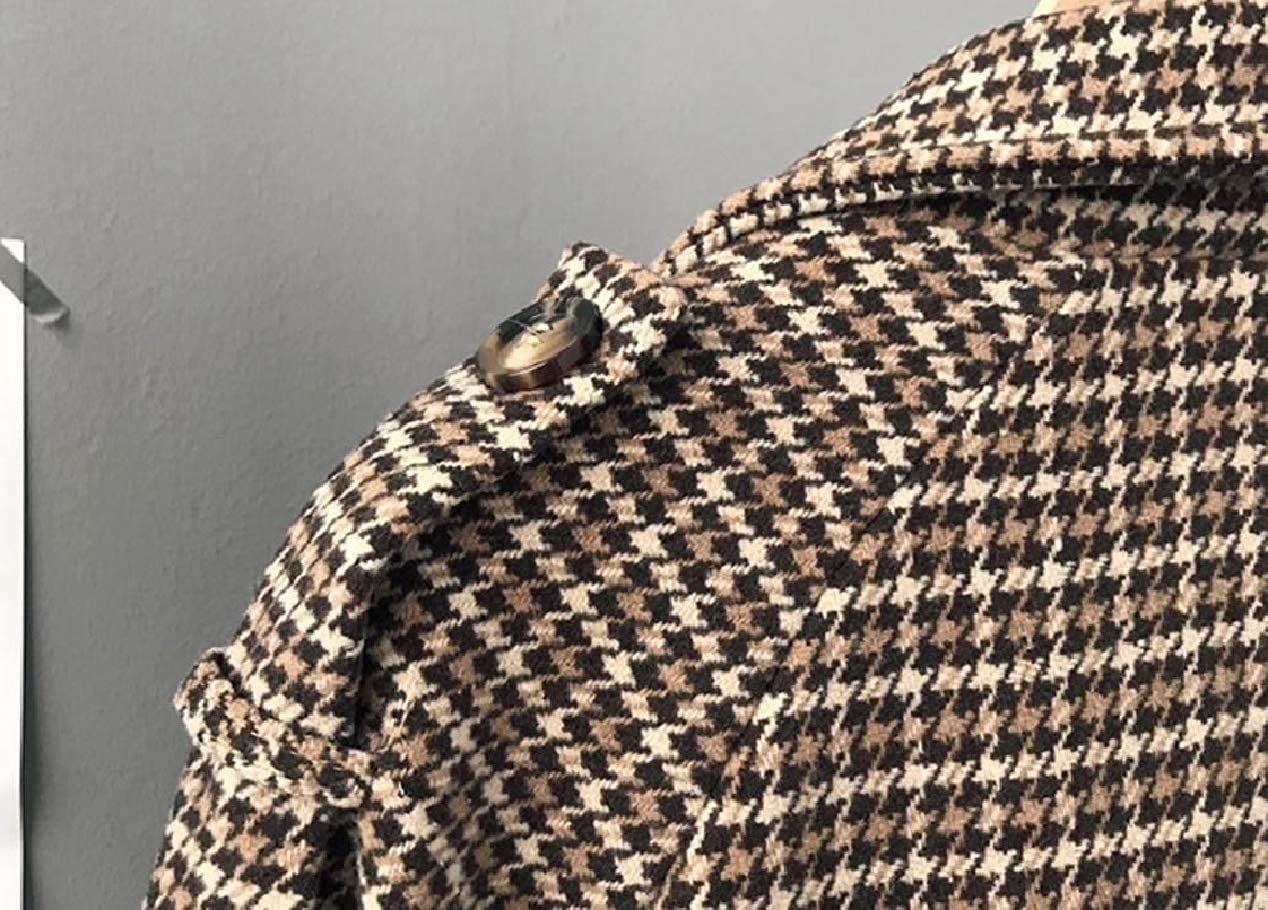 XiaoShop Women British Style Double Breasted Trench Houndstooth Pea Coat