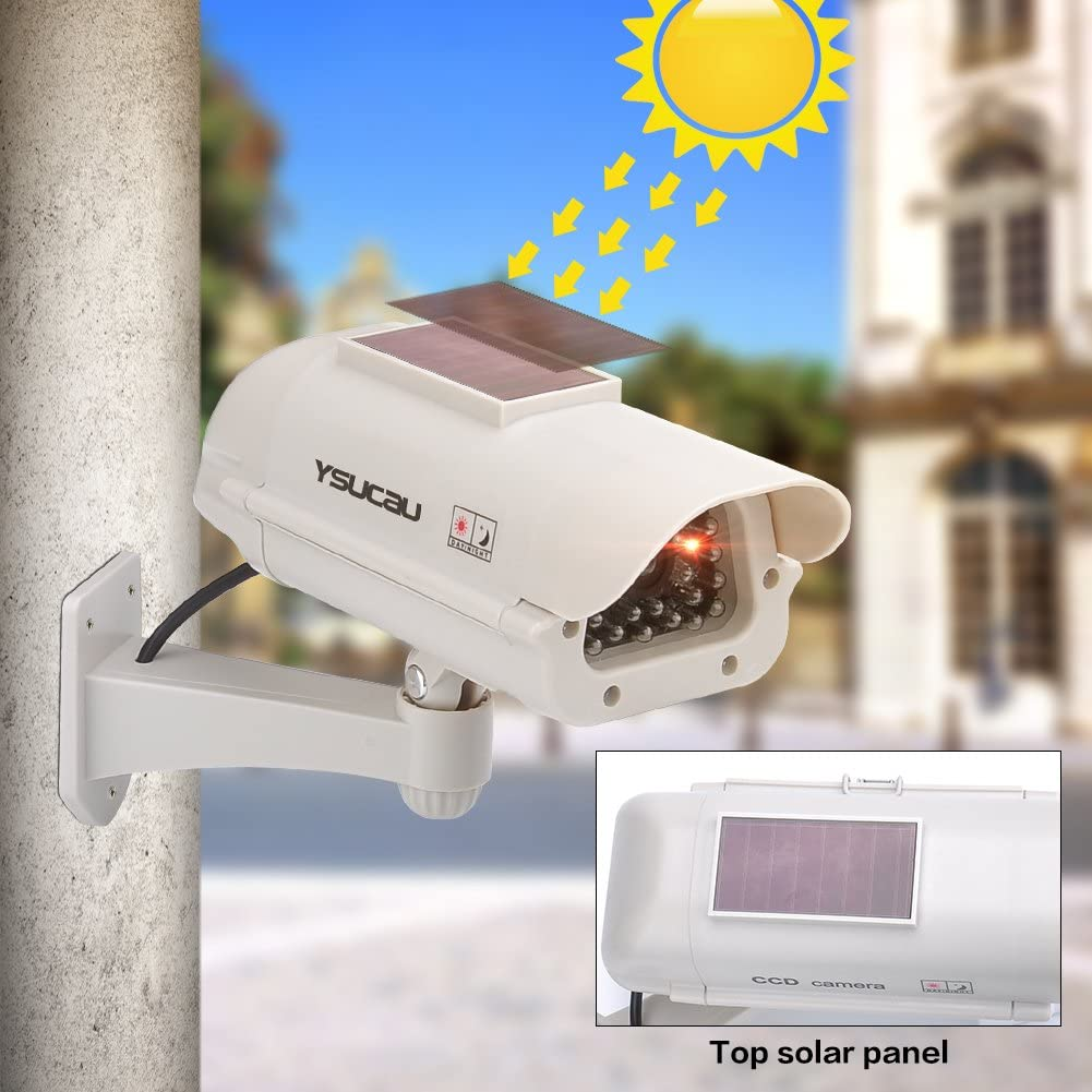 360/° Rotation Battery//Solar Power,Use for Homes//Business,White Tangxi Dummy Camera Dummy CCTV Camera,Fakes Camera with Dome Shape+Flashing LED Light