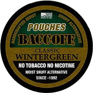 BaccOff, Classic Wintergreen Pouches, Premium Tobacco Free, Nicotine Free Snuff Alternative (1 Can)