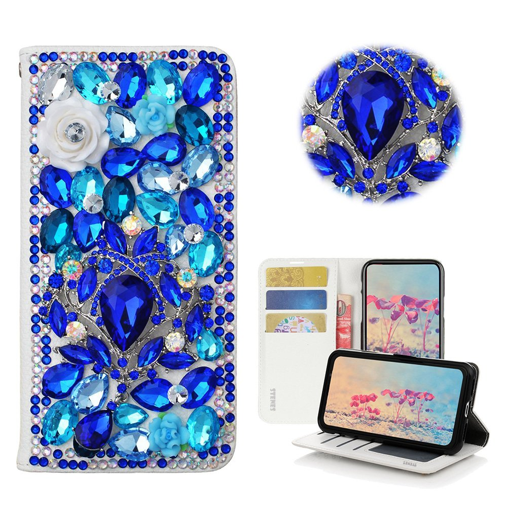 Light Blue STENES Moto E5 Play Case Stylish 3D Handmade Bling Crystal Gemstone Octopus Crown Magnetic Wallet Credit Card Slots Fold Stand Leather Cover for Moto E5 Play//Moto E5 Cruise