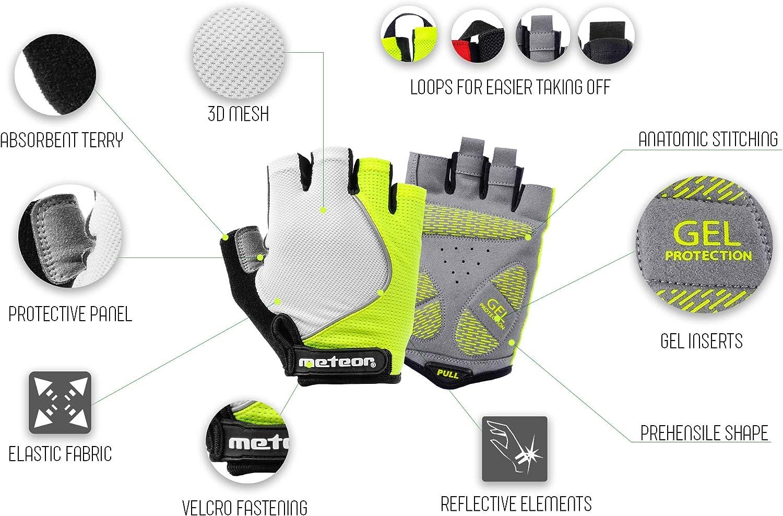 Universal Fitness y Gimnasio Guante Gel para Bicicleta monta/ña Carretera BMX MTB GX60 para Bicicleta meteor Guantes Ciclismo Hombre Guantes Deportivos