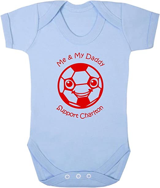 Hat-Trick Designs Charlton Athletic Football Baby Babygrow//Vest//Bodysuit//Romper-White//Blue//Pink-Me /& My-Unisex Gift