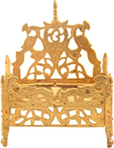 Odishabazaar Brass Puja Singhasan for All God (12 cm x 7 cm x 15 cm, Golden)