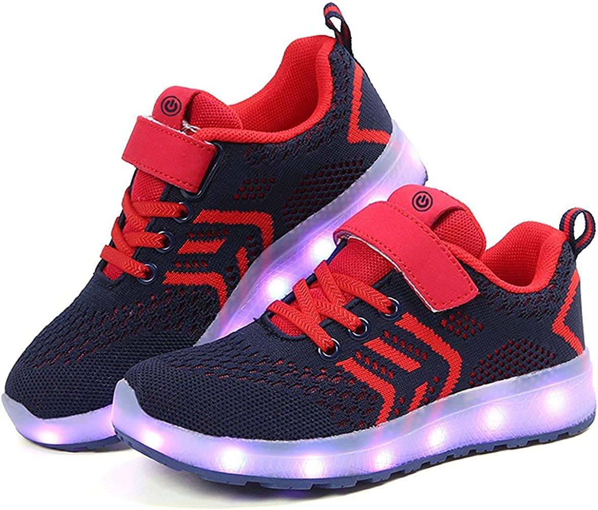 AGoGo 7 Colors LED Light-Up Kids Sport Shoes Sneakers USB Charging for Valentines Day Christmas Halloween