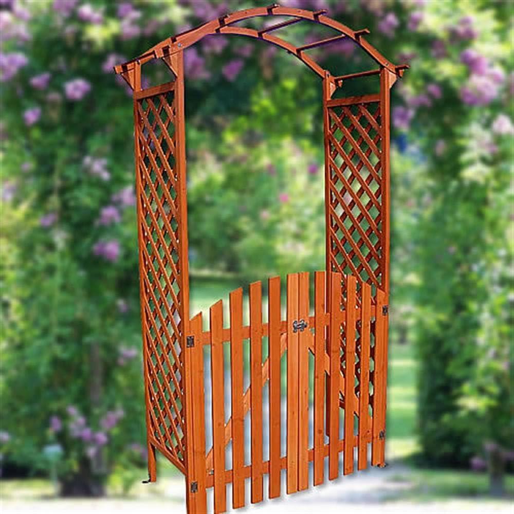 Arco – Puerta Pergola con puerta madera Rose Rank ayuda enrejado Macetero: Amazon.es: Jardín