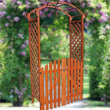Arco – Puerta Pergola con puerta madera Rose Rank ayuda enrejado Macetero