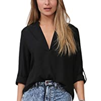 Dearlovers Women V Neck Solid Loose Casual Cuffed Long Sleeve Blouses