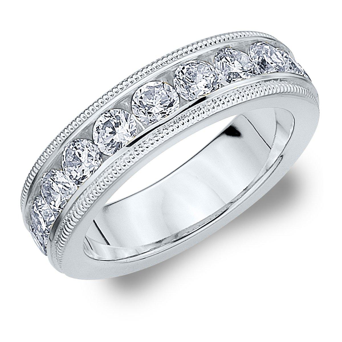 18K White Gold Diamond Milgrain Wedding Band (1.5 cttw, F-G Color, VS1-VS2 Clarity) Size 9.5