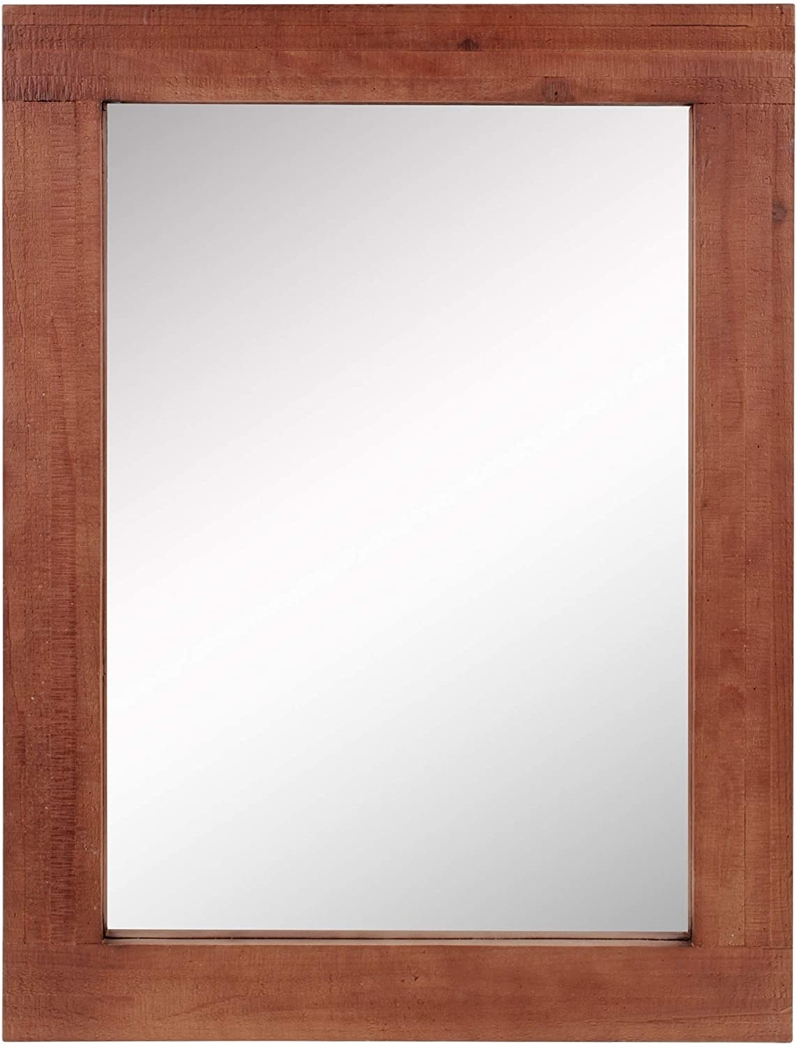 """Stonebriar Rustic Rectangular Redwood Wooden Frame Hanging Wall Mirror for Vertical or Horizontal Display, 24"""" x 18"""""""