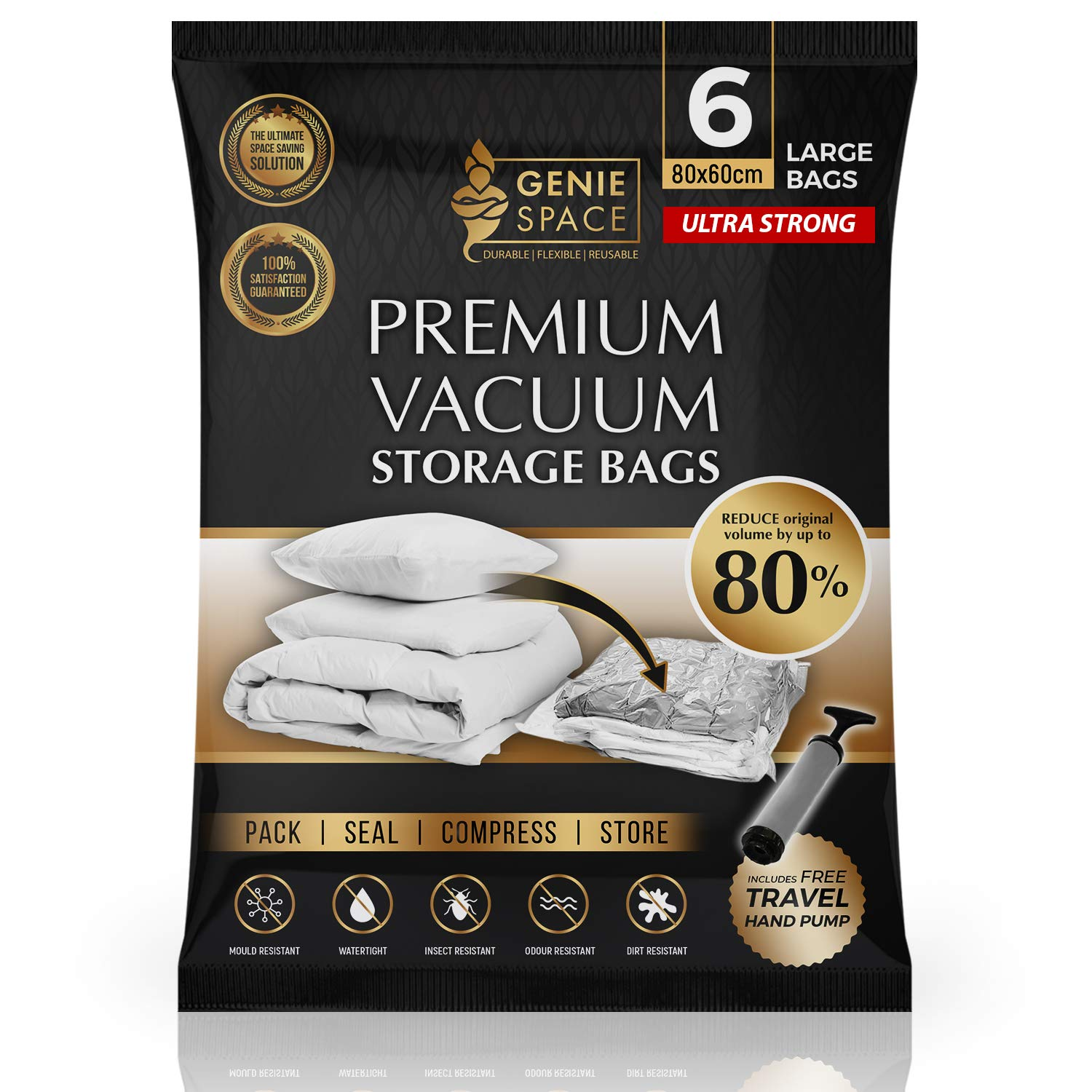 Duvets Vacuum Storage Bags With Double Zipper /& Turbo Valve Best Sealer Bags for Clothes Pillows Reusable space savers bag for travel packing Curtains Extra Large 60 x 100 CM Blankets Bedding