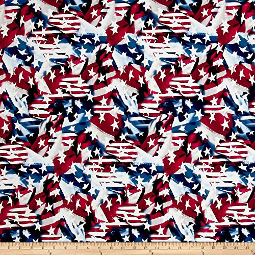 Santee Print Works Made in The USA II Abstract Flag Red/White/Blue Fabric by The Yard ()