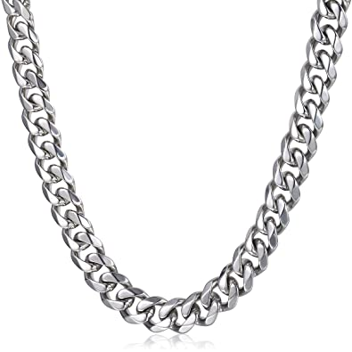 Trendsmax 14 5mm Heavy Polished Silver Tone Curb Cuban Mens Chain