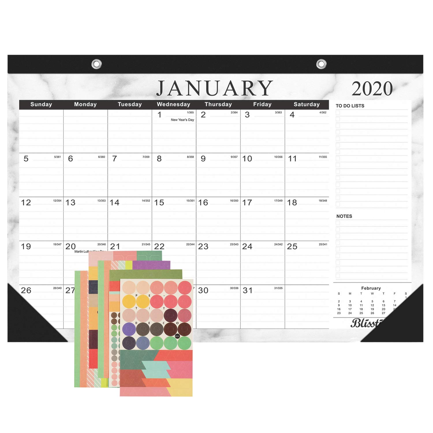 """12 Months Marble Wall Calendar//Desk Pad Blotter//Monthly Pages Planner for Office 17/"""" x 12/"""" Runs from January 2020 Till December 2020 Colovis 2020 Desk Calendar School or Home"""