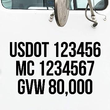 USDOT NUMBERS SET OF 2 TRUCKER VINYL GRAPHICS DECALS
