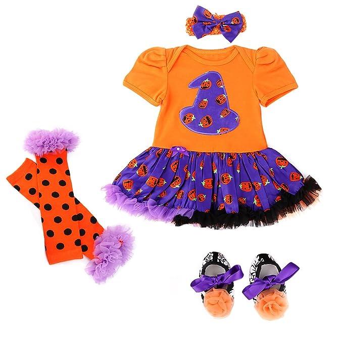 jubileens baby girls 4pcs halloween romper tutu dress headband shoes leg warmers m