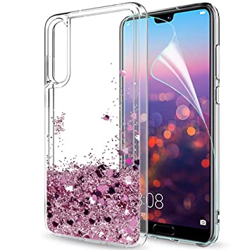 Funda Huawei P20 Pro Silicona Purpurina Carcasa con HD Protectores de Pantalla,LeYi Transparente Cristal Bumper Telefono Gel TPU Fundas Case Cover ...