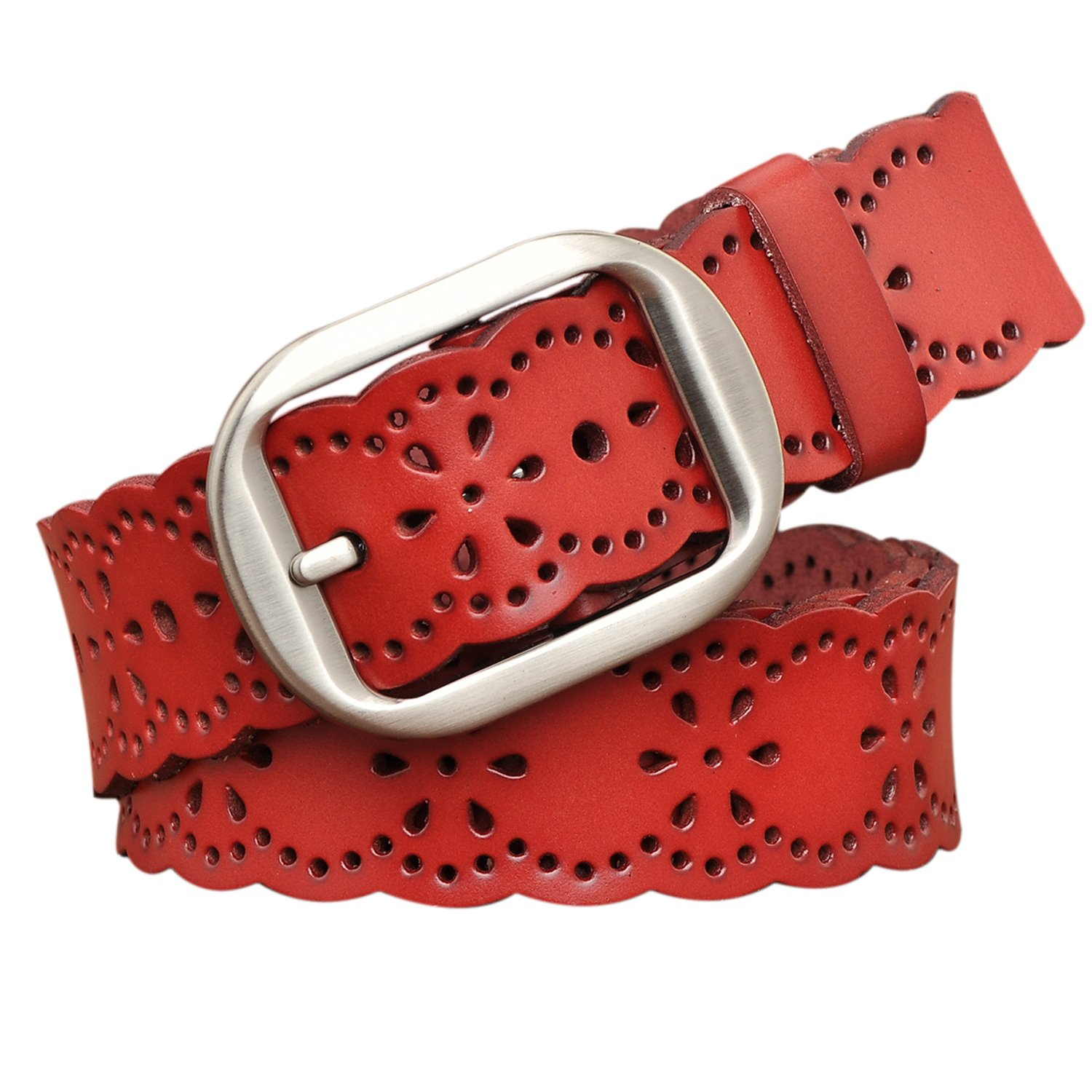 TUNGHO Vintage Women's Hollow Flower Genuine Leather Belt With Needle Buckle