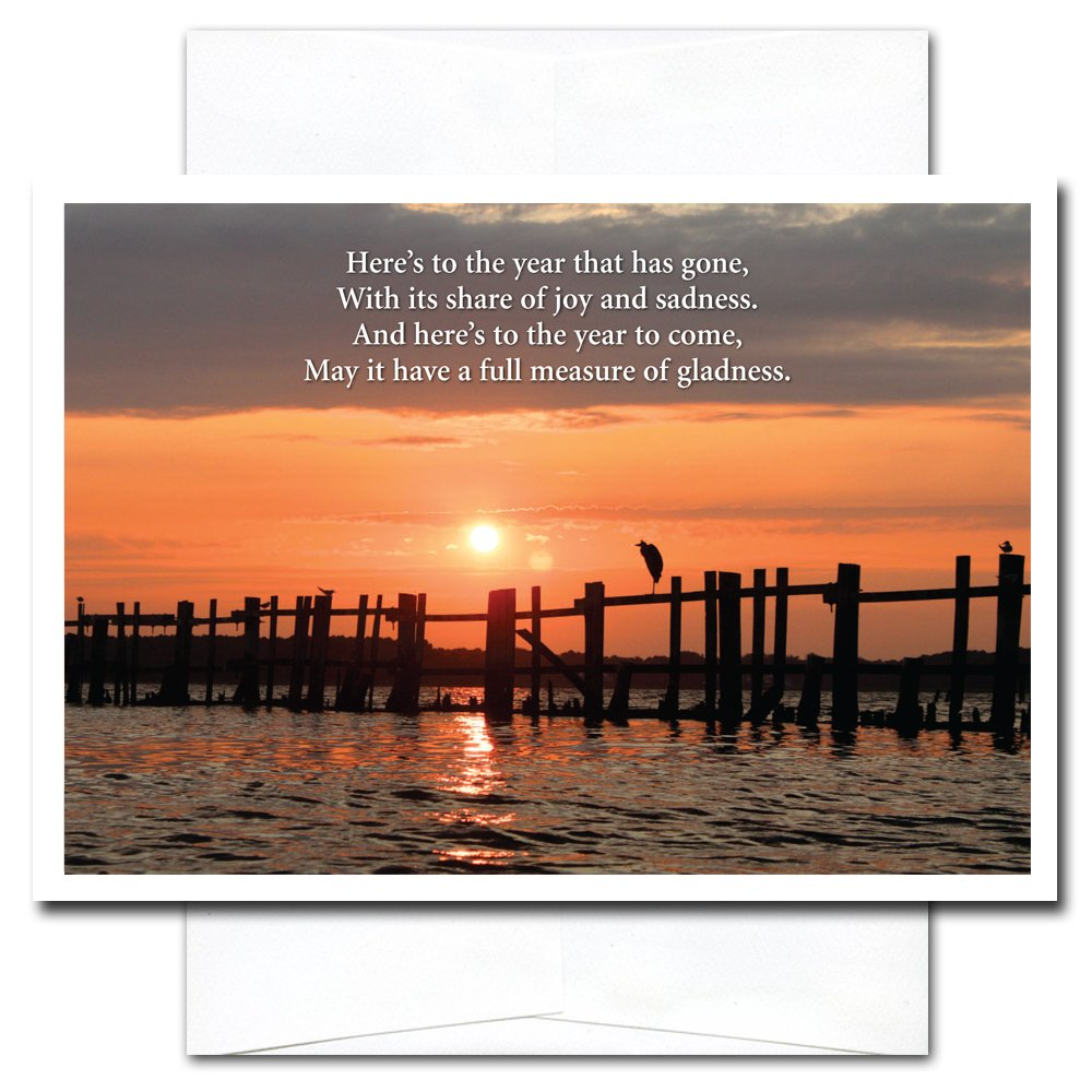 New Year Cards Sunset - 10 Cards & Env Professional or Personal Use Made in USA by CroninCards