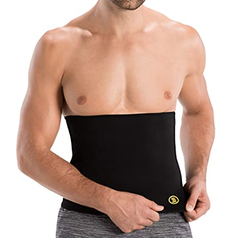 8b86e94bd0 Hot Shapers Hot Belt for Men – Abs Stimulator Workout Waist Trimmer Sweat  Band (Black