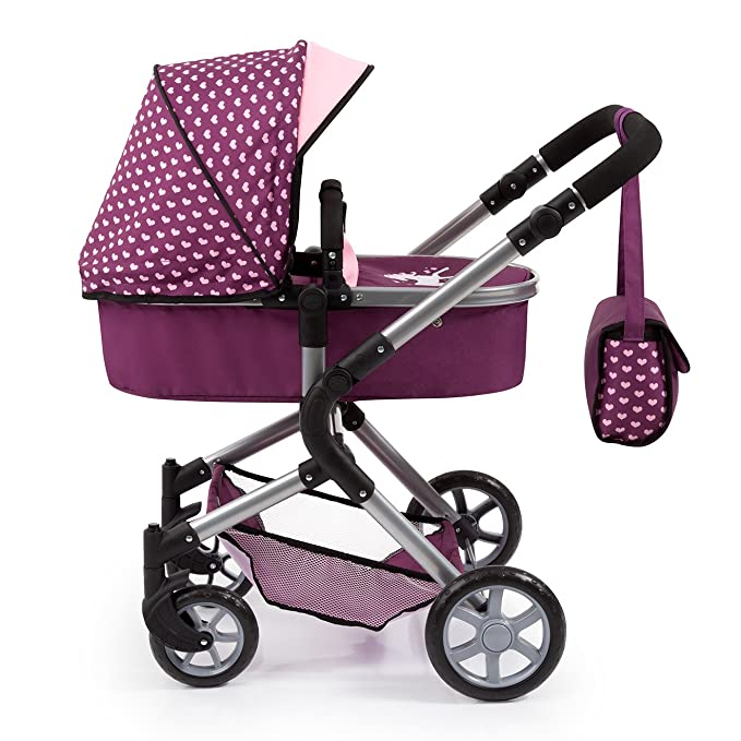 Amazon.com: Bayer Design 18137AA Doll Pram City Neo with Changing Bag and Shopping Basket, Purple/Pink: Toys & Games