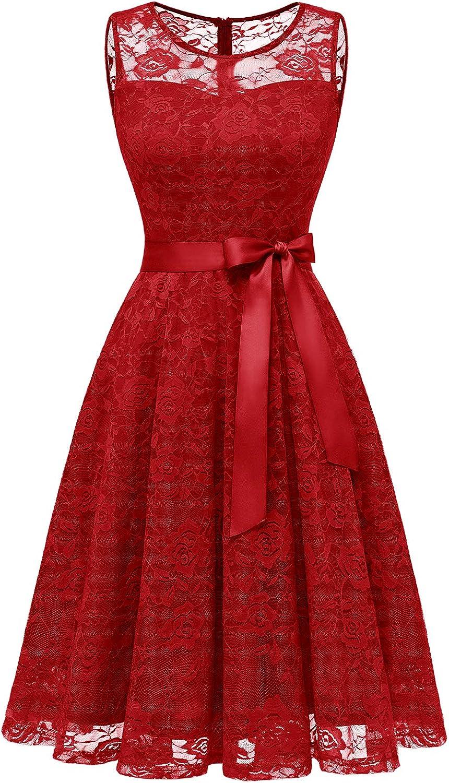 Dressystar Women's Floral Lace Dress Short Bridesmaid Dresses with Sheer Neckline
