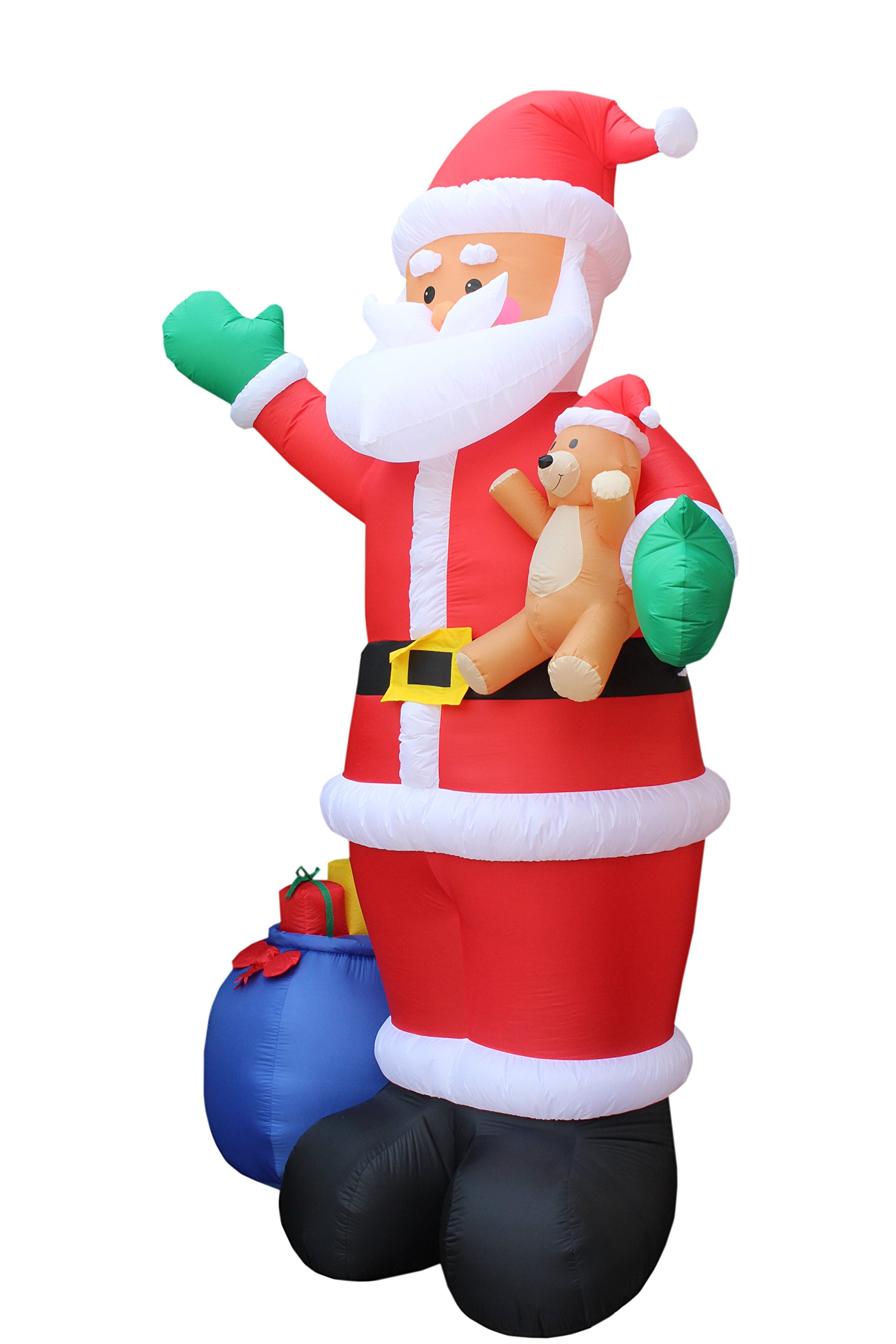 12 Foot Christmas Inflatable Santa Claus with Gift Bag and Bear Yard Garden Decoration by BZB Goods (Image #2)