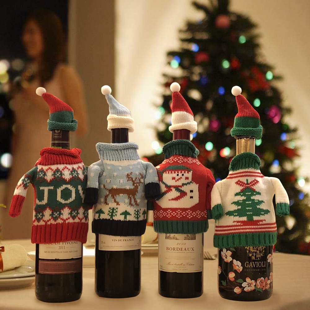 FEFEHOME Christmas Wine Bottle Cover Gift Warping Ugly Sweater (Set of 4) -(F) by FEFEHOME (Image #5)