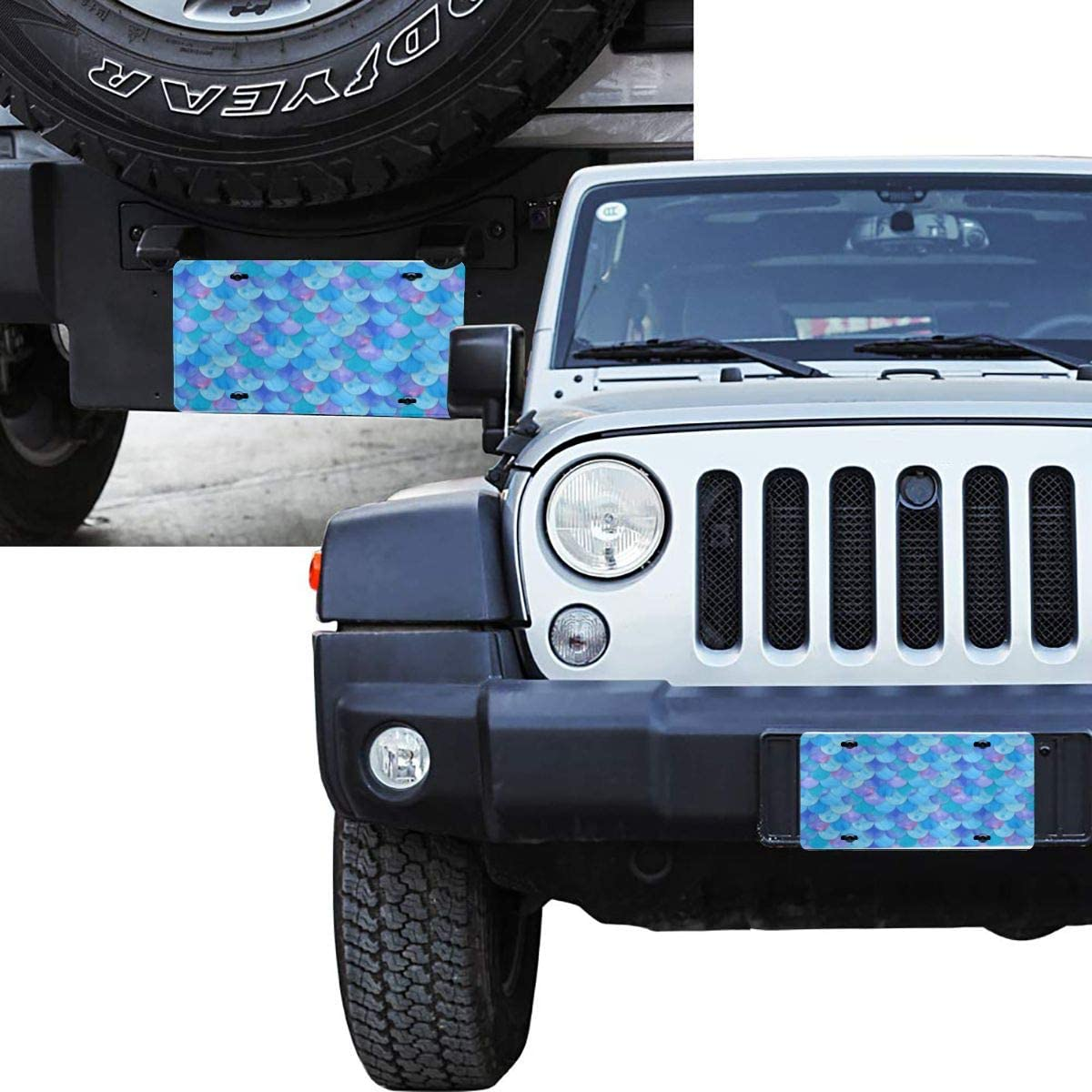 QNOQ Blue Mermaid Scale Design Pattern Durable and Strong Aluminum Car License Plate 6inch X 12inch