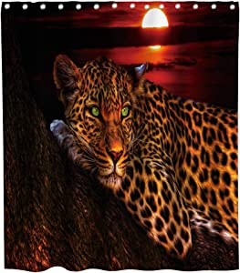 Final Friday Cute Leopard Shower Curtain African Safari Wildlife Animal Rustic Theme Cloth Fabric Bathroom Decor Sets with Hooks Waterproof Washable 70 x 70 inches Black Red and Brown