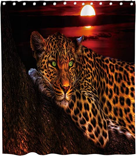 Amazon Com Final Friday Cute Leopard Shower Curtain African Safari Wildlife Animal Rustic Theme Cloth Fabric Bathroom Decor Sets With Hooks Waterproof Washable 70 X 70 Inches Black Red And Brown Home