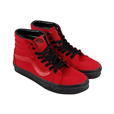 32ee8d3e418 Image Unavailable. Image not available for. Color  Vans Mens Black Outsole SK8  HI Reissue Racing Red Black Sneakers ...