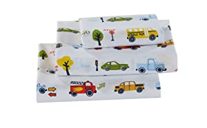 Better Home Style Cars Fire Trucks School Buses Traffic Signs Trees Multicolor Fun Design for Kids/Boys 4 Piece Sheet Set with Pillowcases Flat and Fitted Sheets # School Bus (Full)