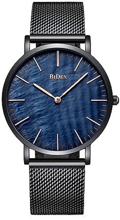 42baf1336d メンズ腕時計 ビッグフェイス アナログ 超薄型 シンプル 日付表示 防水ウォッチ カジュアル ブラック (