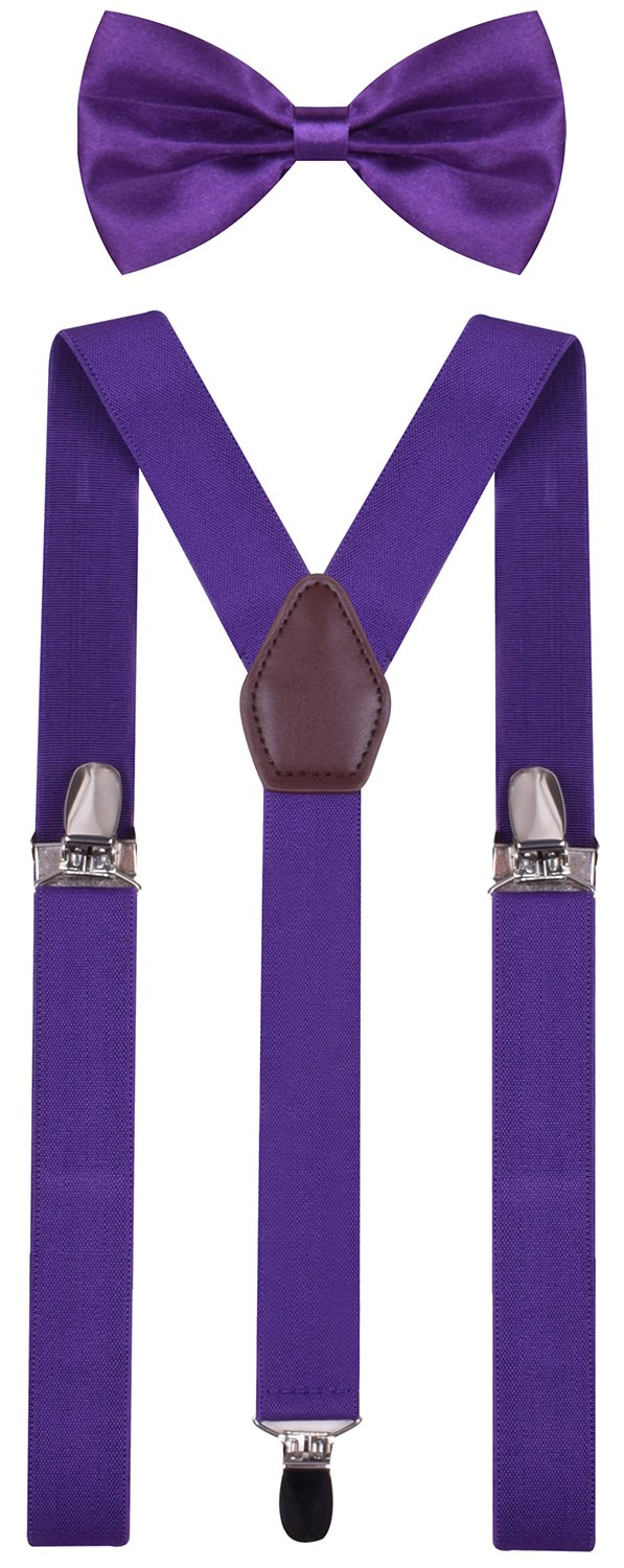 BODY STRENTH Mens Kids Bow Tie and Suspenders Adjustable Purple 49 Inches