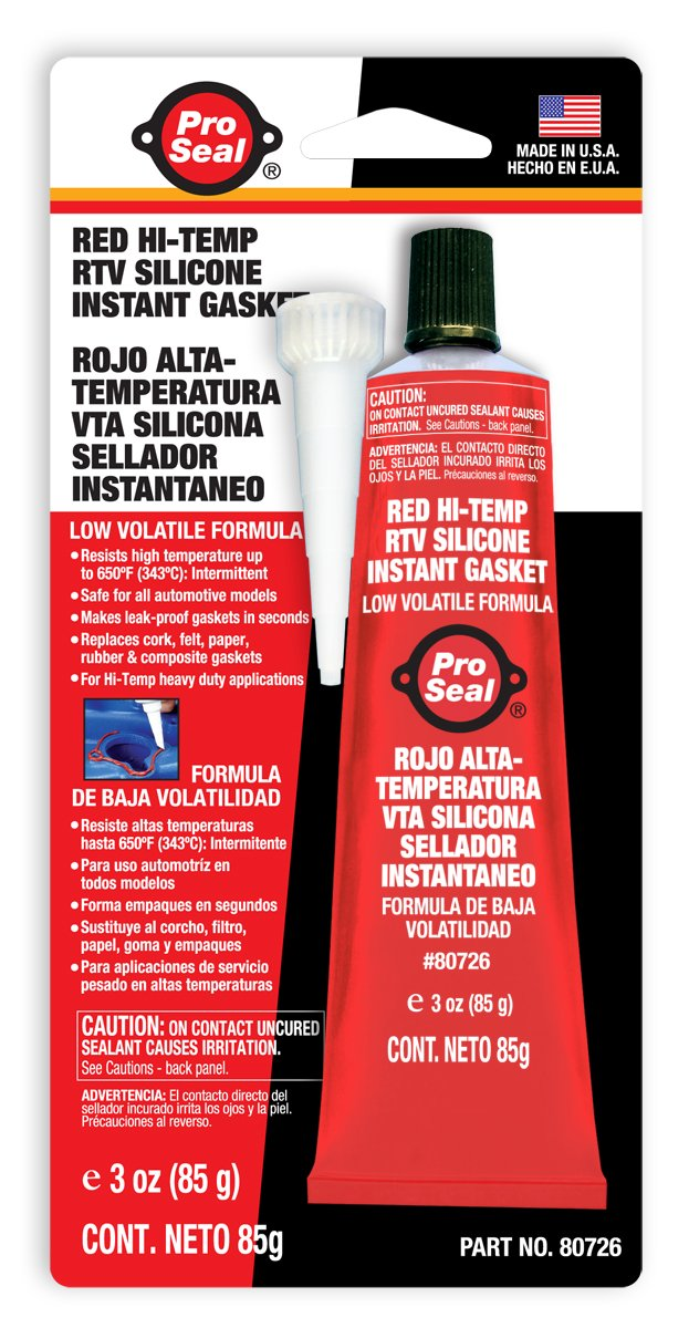 Sealpro ProSeal 80726 High Temperature RTV Silicone Instant Gasket, Red Super Glue Corporation