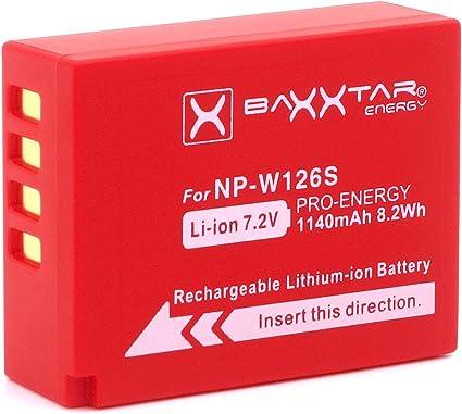 Baxxtar Pro Batería Compatible con Fujifilm NP-W126s NP-W126 (1140mAh) FinePix X100F X-A5 X-A7 X-A10 X-E3 X-H1 X-Pro1 X-Pro2 X-Pro3 X-T1 X-T2 X-T3 X-T10 X-T20 X-T30 X-T100 X-T200 y demás