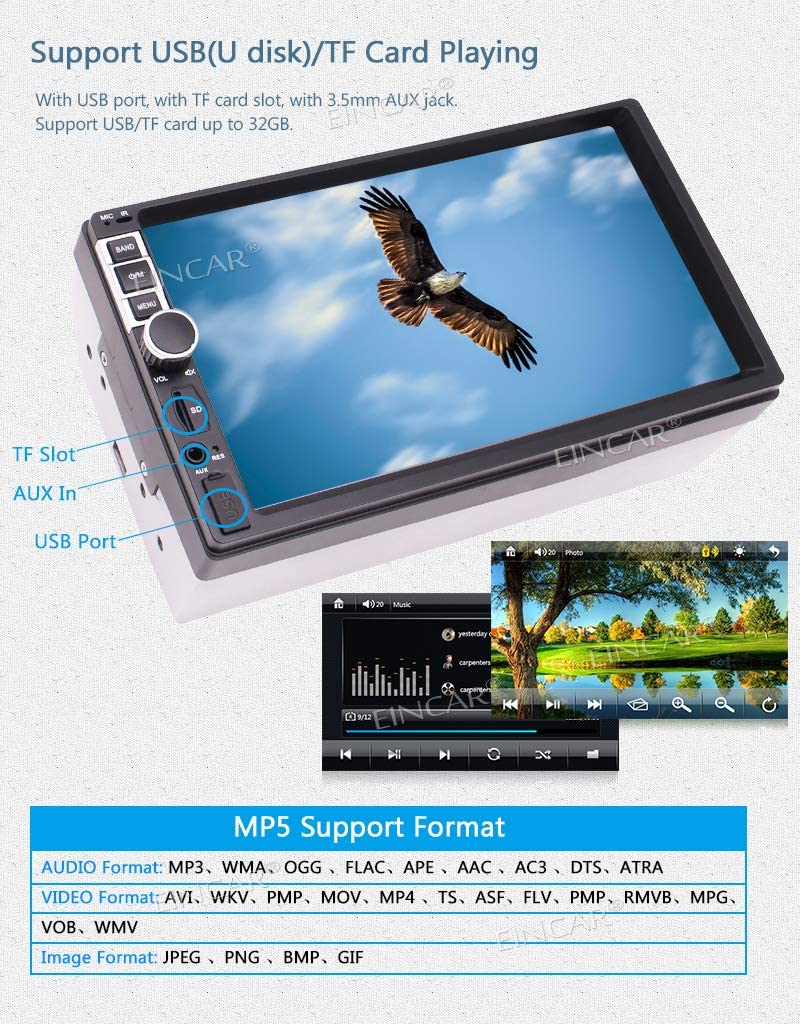 Double Din Car Stereo Bluetooth Touch Screen MP5 Player 7 2 din FM Radio Receiver Support Steering Wheel Control/&Backup Camera Input/&USB TF Card Input/&EQ Mode Phone Charge with Remote Control