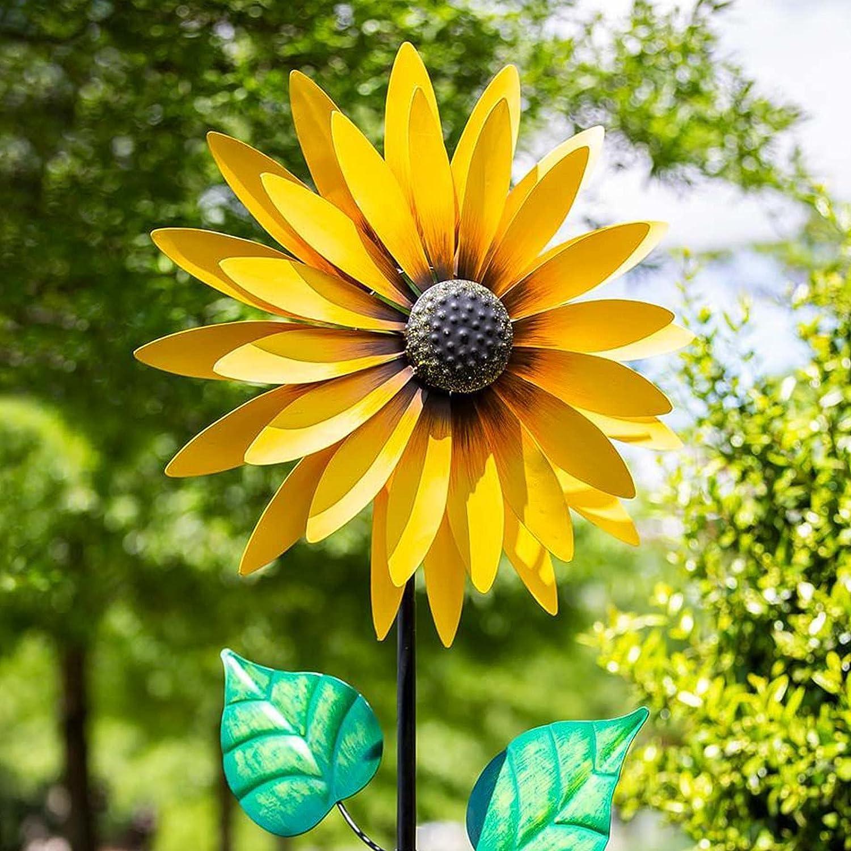 Large Metal Wind Spinner for Outdoor Garden Art Decoration, Stainless Steel Sunflower Windmill Wind Sculpture, Beautiful Summer Yellow Flowers Wind Spinner for Outdoor Yard Decor (Sunflower)